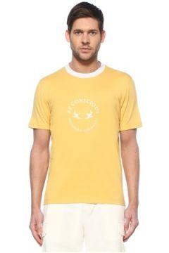Brunello Cucinelli Erkek Sarı Slogan Baskılı Logolu T-shirt 54 IT(128052009)