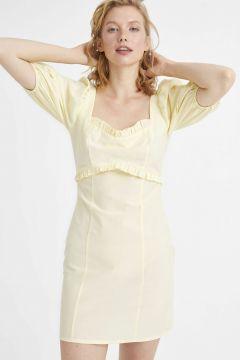 Kadın Kare Yaka Balon Kol Poplin Elbise(126604035)