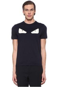 Fendi Erkek Lacivert Canavar Göz Patchli Troklu T-shirt 50 IT(108809999)