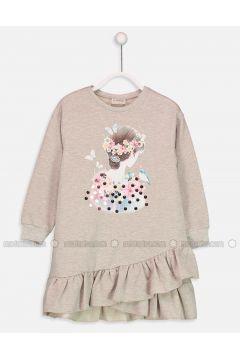 Beige - Printed - Age 8-12 Dress - LC WAIKIKI(110342011)