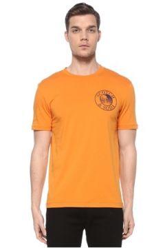 Scotch & Soda Erkek Turuncu Baskılı T-shirt M EU(116665582)