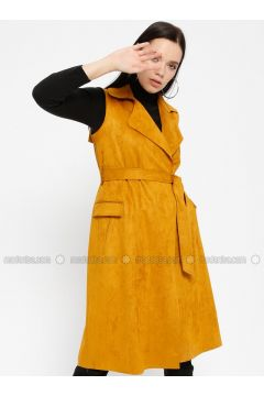 Mustard - Unlined - Shawl Collar - Vest - Pitti Collection(110322736)