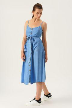 Only Açık Mavi Düğmeli Elbise(113979054)