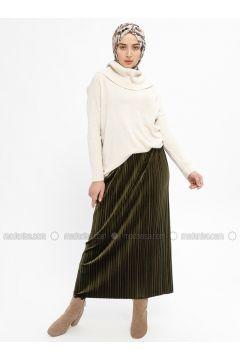 Khaki - Unlined - Skirt - Ginezza(110332076)