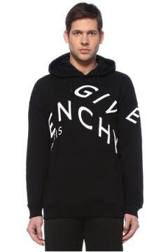 Givenchy Erkek Siyah Kapüşonlu Logo Nakışlı Sweatshirt S EU(127545858)