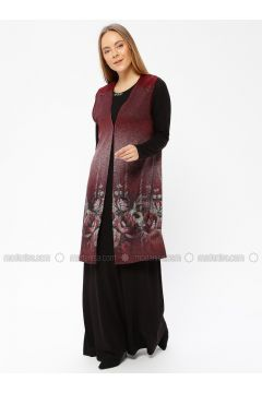 Black - Maroon - Multi - Unlined - Crew neck - Muslim Evening Dress - Güzey(110337575)