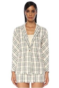 Maje Kadın Vianey Ekru Ekoseli Tweed Ceket Bej 34 FR(120730878)