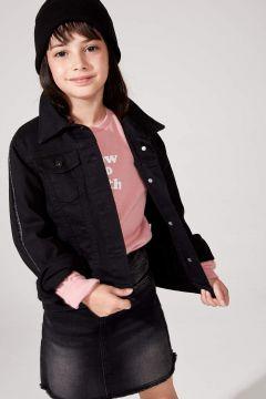 DeFacto Kız Çocuk Sim Şerit Detaylı Jean Ceket(125919491)