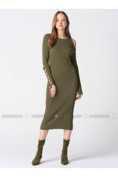 Khaki - Crew neck - Unlined - Dresses - Dilvin(110343549)
