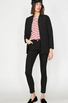 Koton Skinny Fit Siyah Taş Süslemeli Pantolon(117652366)