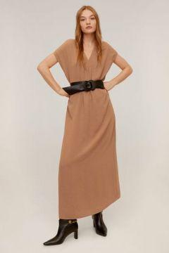 V yakalı uzun elbise(108485101)