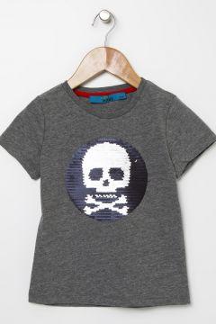 Funky Rocks Erkek Çocuk Çift Taraflı Payetli Antrasit T-Shirt(113974078)
