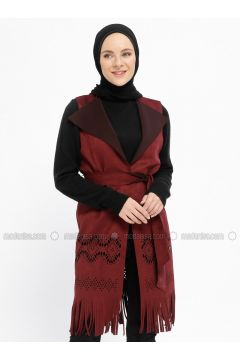 Maroon - Unlined - Shawl Collar - Vest - XTREND(110329253)
