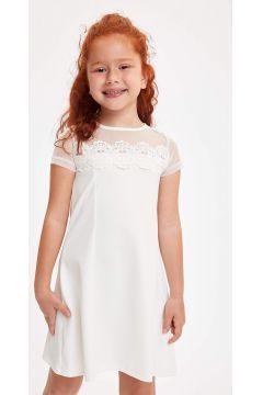 DeFacto Kız Çocuk Dantelli Kısa Kollu Elbise(119063494)