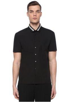 Neil Barrett Erkek Siyah Yakası Kontrast Şeritli Gömlek XL EU(109265261)