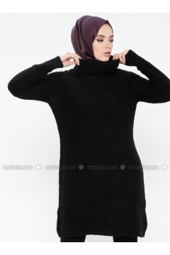 Black - Polo neck - Acrylic -- Jumper - MOODBASİC(110339193)