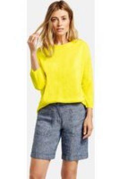 Sweter z łódkowym dekoltem i rękawem o dł. 3/4 Żółty 44/L(115899655)