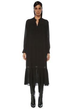 Academia Kadın Siyah V Yaka Uzun Kol Midi Şifon Elbise 42(121108158)