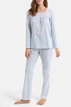Pijama de manga larga, con detalles de macramé(108522984)