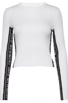 Stripe Logo Sweater Strickpullover Weiß CALVIN KLEIN JEANS(116951120)