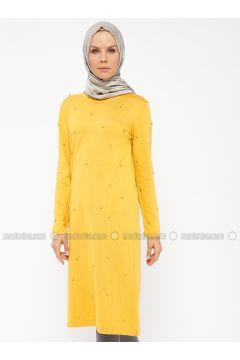 Mustard - Crew neck -- Tunic - NOVİNZA(110319449)