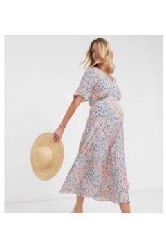 New Look Maternity - Vestito da giorno midi a fiorellini-Blu(120438822)