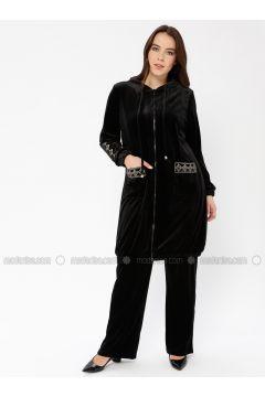 Black - Unlined - Plus Size Suit - Ginezza(110336819)