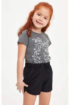 DeFacto Kız Çocuk Unicorn Baskılı Kısa Kollu T-shirt(119060245)