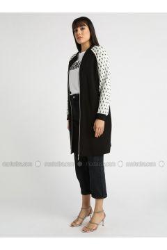 Black - Unlined - Crew neck - Topcoat - MY MOOD(110339223)