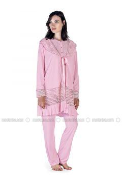 Powder - Crew neck - Cotton - Viscose - Pyjama - Artış Collection(110332888)