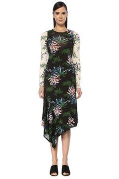 Kenzo Kadın Siyah Çiçek Desenli Asimetrik Midi Elbise S EU(107433849)