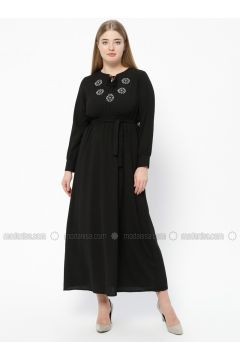 Black - Unlined - V neck Collar - Plus Size Dress - SUEM(110315285)