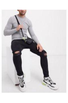 Bershka - Jeans super skinny jeans con strappi al ginocchio neri-Nero(120251406)