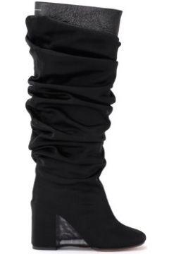 Bottes Mm6 Maison Margiela Botte en cuir noir avec revêtement voilé(101659490)
