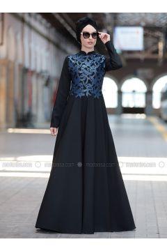 Navy Blue - Crew neck - Fully Lined - Dresses - Rana Zenn(110331711)