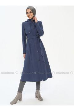 Navy Blue - Indigo - Unlined - Crew neck - Viscose - Topcoat - Butik Neşe(110335604)