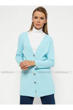 Blue - V neck Collar - Cardigan - Meliana(110319656)