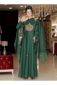 Green - Fully Lined - Crew neck - Muslim Evening Dress - Selma Sarı Design(110318635)