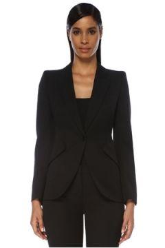 Alexander McQueen Kadın Siyah Kelebek Yaka Kulplu Yün Ceket 42 IT(120138952)