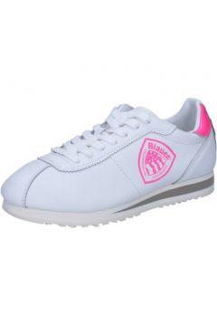 Chaussures Blauer sneakers blanc cuir rose jaune AB817(115394093)