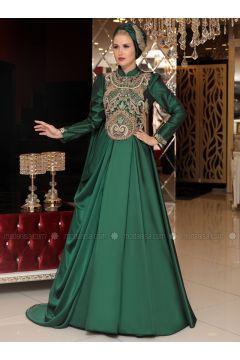 Green - Fully Lined - Crew neck - Muslim Evening Dress - Selma Sarı Design(110332916)
