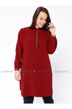 Maroon - Crew neck - Plus Size Tunic - SUEM(110315230)