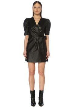Network Kadın Slim Fit Siyah Deri Mini Elbise XS EU(118217091)