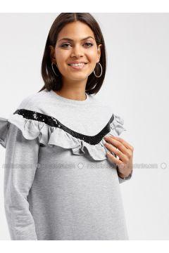 Crew neck - Gray - Sweat-shirt - MY MOOD(110339649)