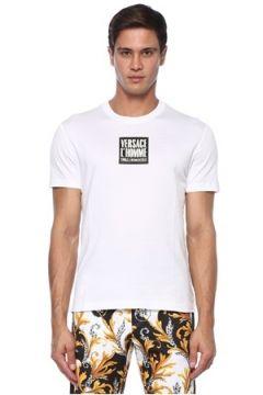 Versace Erkek Beyaz Kontrast Logolu Basic T-shirt S EU(120885134)