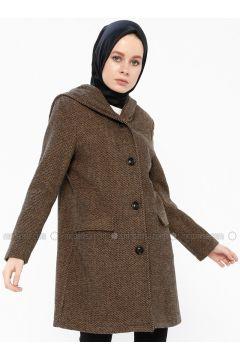 Camel - Fully Lined - Shawl Collar - Coat - Gzd(110337853)