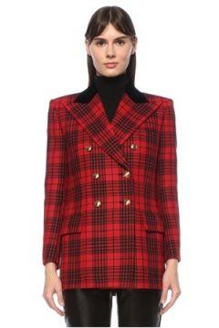 Saint Laurent Kadın Kırmızı Siyah Kırlangıç Yaka Ekoseli Yün Ceket 40 IT(124607273)
