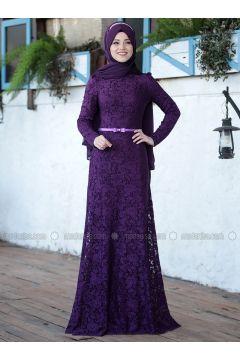 Plum - Unlined - Crew neck - Muslim Evening Dress - Al-Marah(110328369)