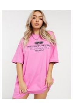 The Couture Club - Vestito T-shirt oversize con motivo rosa(121708543)