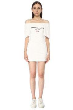 Alexander Wang Kadın Beyaz Düşük Omuzlu Drapeli Mini Elbise 2 US(117384916)
